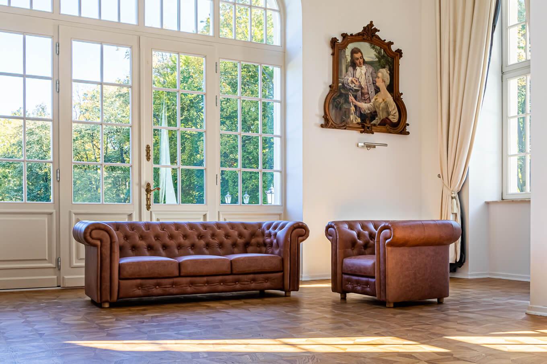 Meble tapicerowane Nowy Sącz Kraków sofa fotel Chesterfield skóra sesja Pałac Goetz